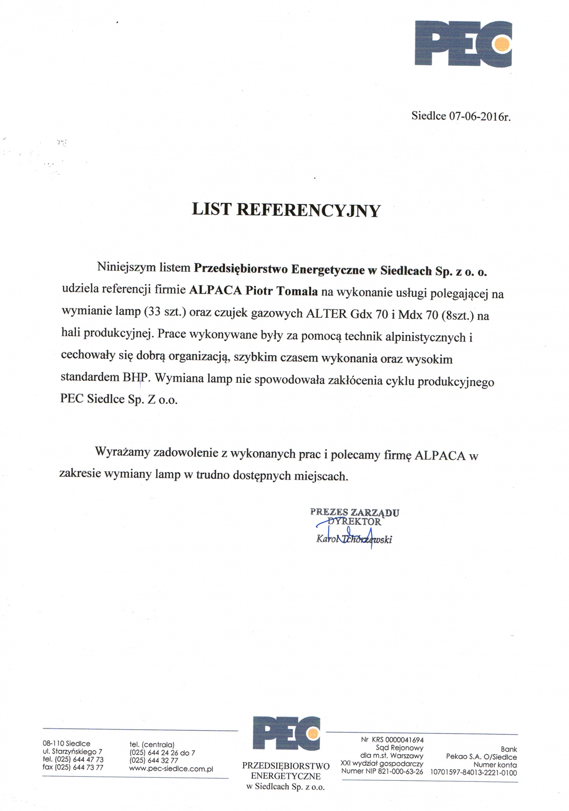 List referencyjny od przedsiębiorstwa PEC Siedlce dotyczący wymiany czujek gazowych i lamp na hali produkcyjnej..