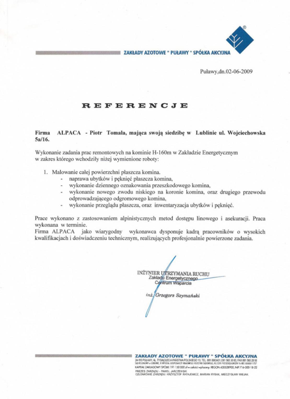 List referencyjny z Zakładów Azotowych Puławy dotyczący remontu komina h=160m.