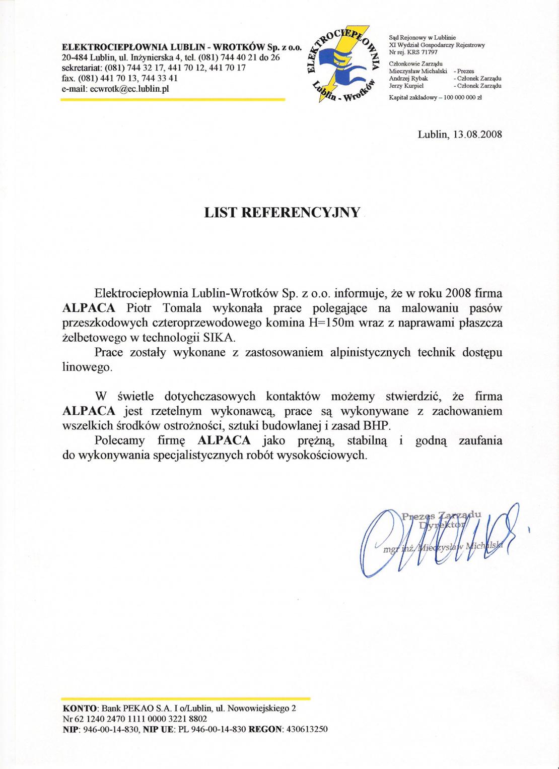 List referencyjny dotyczący remontu komina żelbetowego h=160m w Elektrociepłowni Lublin - Wrotków.