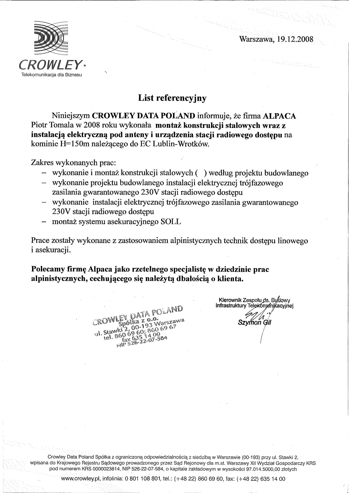 List referencyjny od Crowley Data Poland dotyczący montażu konstrukcji stalowych na kominie h=150m.