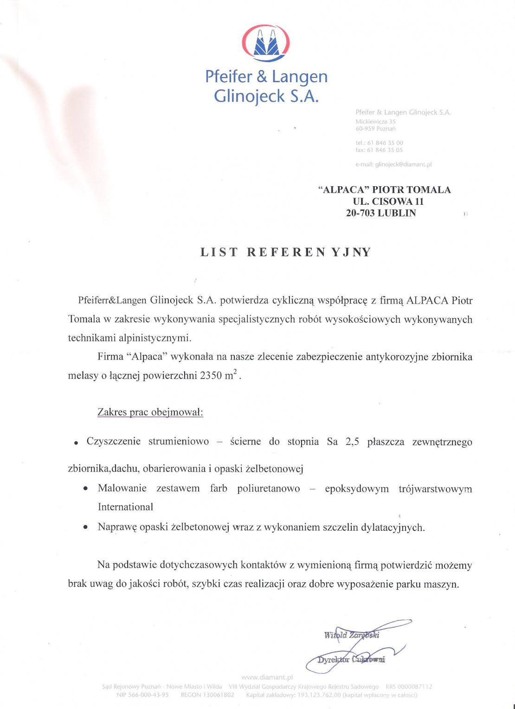 Referencje od firmy Pfeifer&Langen Glinojeck dotyczące zabezpieczenia antykorozyjnego płaszcza zbiornika melasy o powierzchni 2350m2.