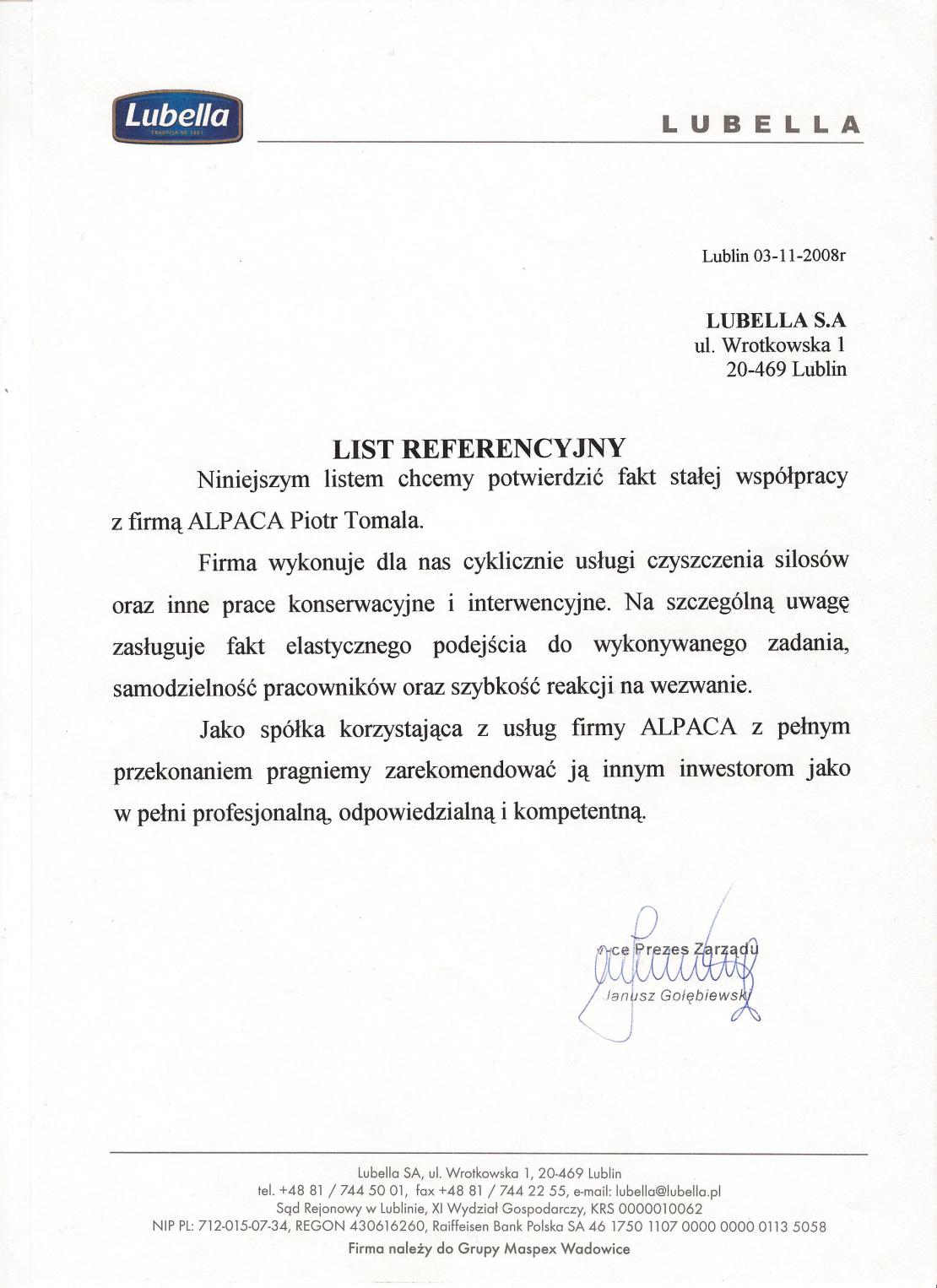 List referencyjny od firmy Lubella dotyczący czyszczenia silosów.
