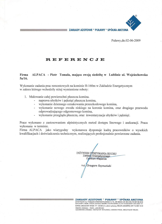 List referencyjny dotyczący remontu płaszcza żelbetowego, zabezpieczenia antykorozyjne komina h- 120 na terenie Zakładów Azotowych Puławy.